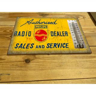 Philips radio service enamel ceramic thermometer sign