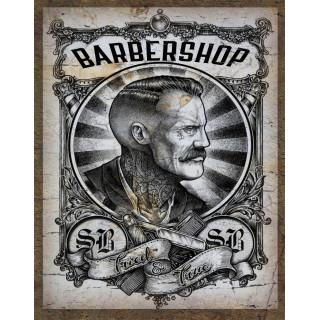 Barber Supplies   vintage  barber metal tin sign poster