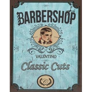 Barber Shop Valentino   vintage  barber metal tin sign poster