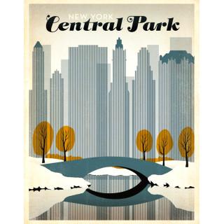 New York Central Park   vintage travel metal tin sign poster