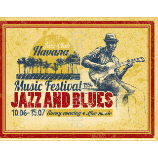 Jazz and Blues festival 1954 metal tin sign poster wall plaque