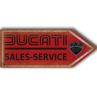 Ducati sales service arrow motorcycle vintage metal tin sign poster