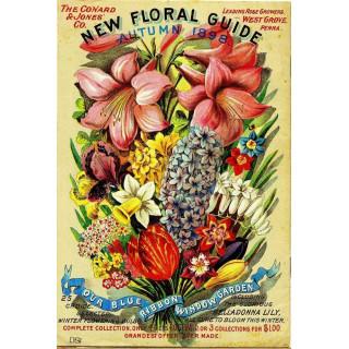 1898 Floral Guide vintage metal tin sign poster