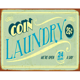 Coin Laundry  metal tin sign poster pub bar wall plaque