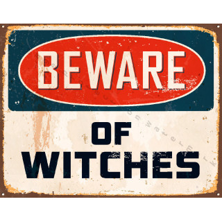 Beware of Witches vintage metal tin sign poster plaque