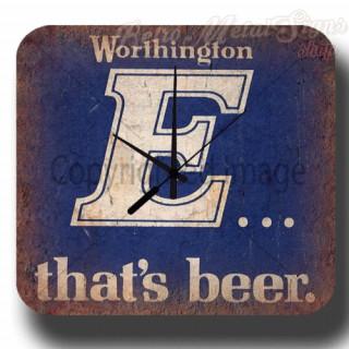 Worthington's E Beer vintage pub metal tin sign wall clock