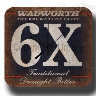 Wadworth 6X Beer  vintage pub metal tin sign wall clock
