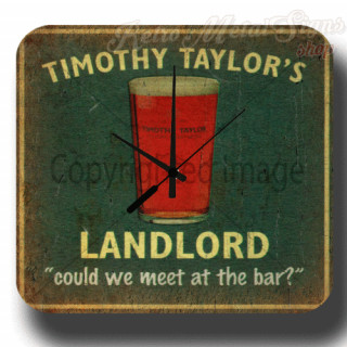 Timothy Taylors Landlord Beer vintage pub metal tin sign wall clock