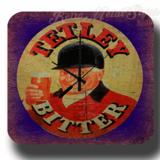 Tetley's Bitter Beer vintage pub metal tin sign wall clock