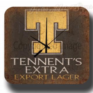 Tennent's Extra Beer vintage pub bar  metal tin sign wall clock