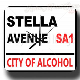 Stellla Avenue Bar Beer vintage pub metal tin sign wall clock