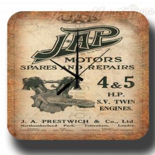 J.A.P motor engines spares repairs retro metal tin sign wall clock