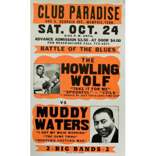 1970 Muddy Waters / Howlin' Wolf blues   metal tin sign poster plaque
