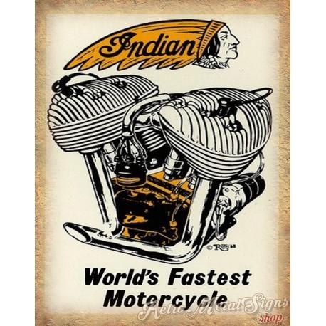 Indian worlds fastest motorcycle vintage garage advertising plaque metal tin sign poster