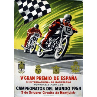 Spanish Moto Racing 1954 vintage garage  plaque metal tin sign poster