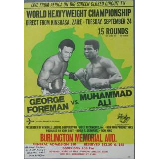 George Foreman vs Muhamad Ali  boxing metal tin sign wall plaque