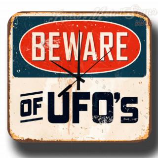 Beware of Ufo   vintage  metal tin sign wall clock