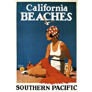 California Beaches vintage travel metal tin sign poster