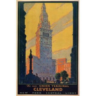 Cleveland  vintage travel metal tin sign poster
