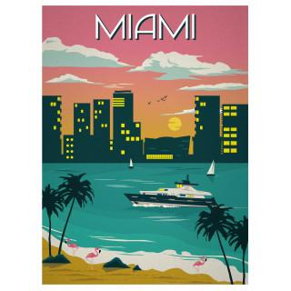 Miami   vintage   travel metal tin sign poster