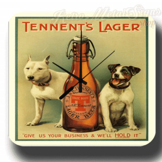Tennent's Lager Beer vintage pub metal tin sign wall clock