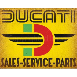 Ducati sales service motorcycle vintage metal tin sign poster wall plaque