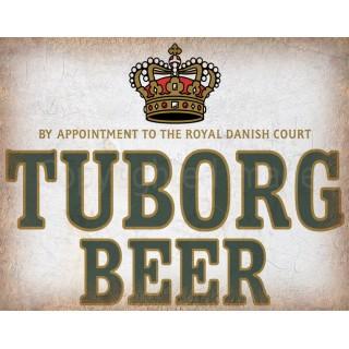 Tuborg Beer vintage alcohol metal tin sign poster