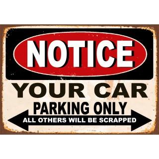 Car Parking funny  metal tin signs